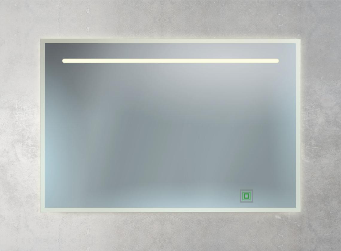 Badspiegel mit LED-Lampe, Ambientebeleuchtung und 1 Sensorschalter