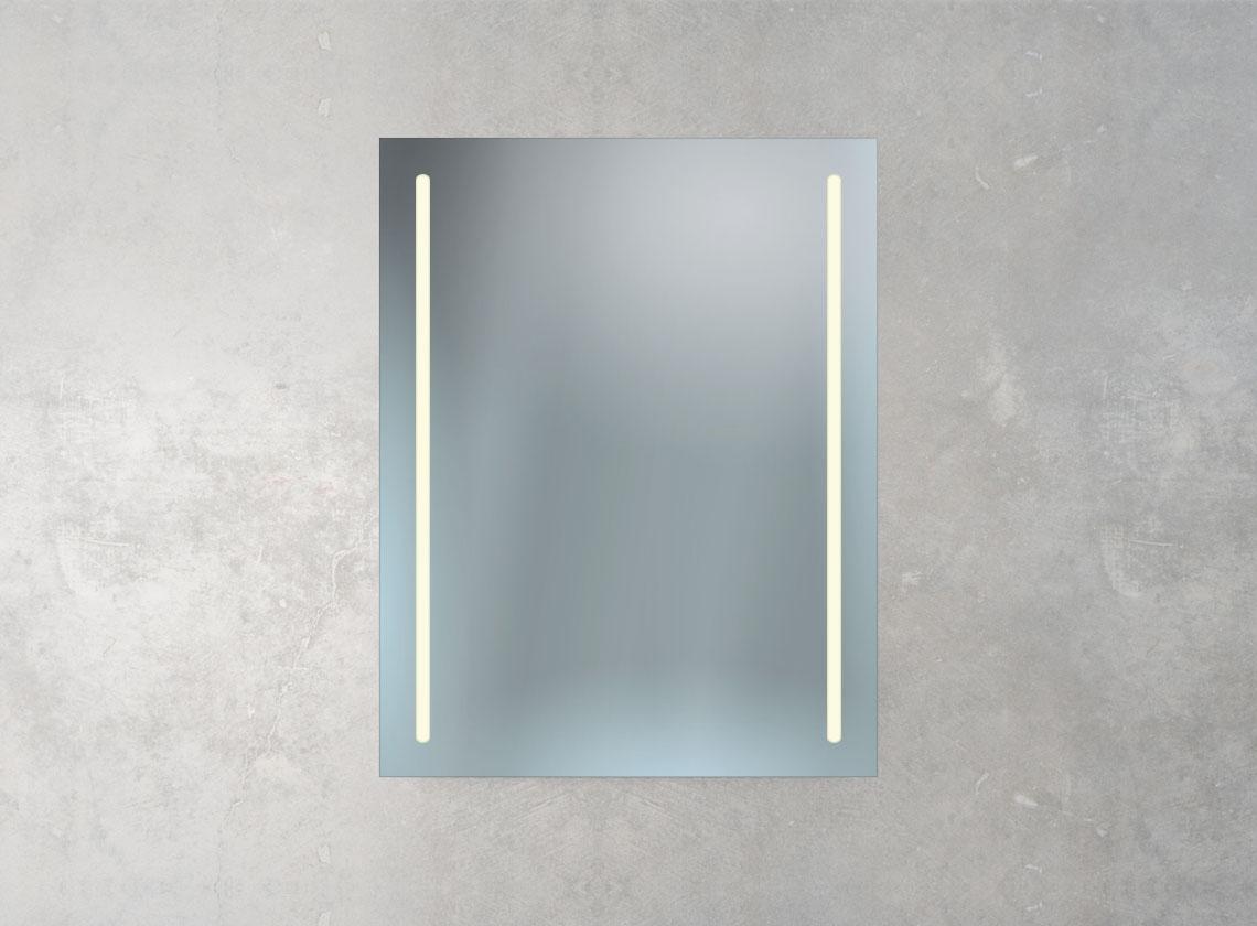Badspiegel mit mattierter Rand, Ambientebeleuchtung und Kosmetikspiegel