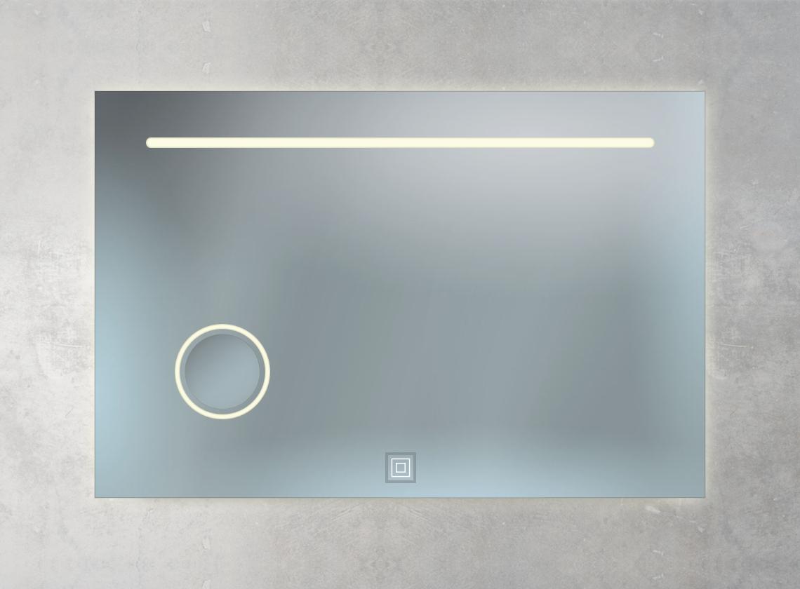 Badspiegel mit Kosmetikspiegel, Ambientebeleuchtung und 1 Sensorschalter