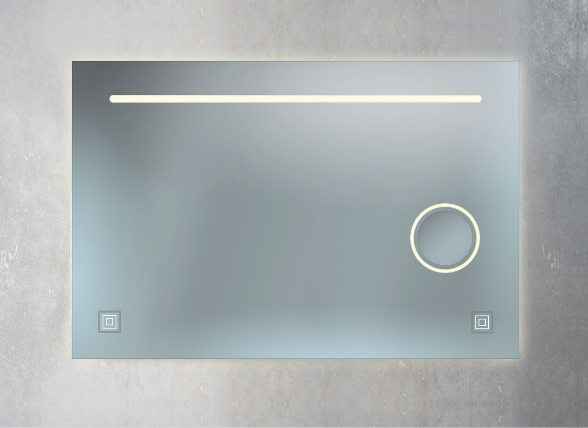 Badspiegel mit Kosmetikspiegel, Ambientebeleuchtung und 2 Sensorschalter