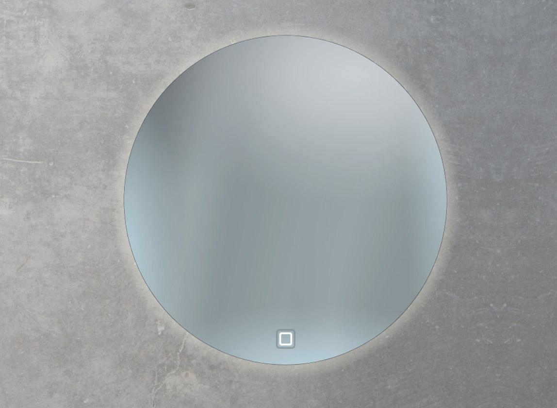 Sonderform runder Badspiegel mit Ambientebeleuchtung und Sensorschalter