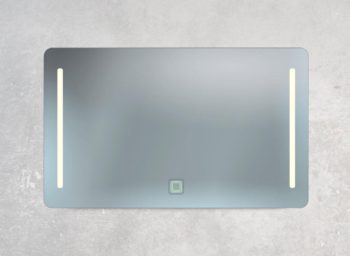 Badspiegel mit 2 LED-Lampen, Ambientebeleuchtung und Sensor