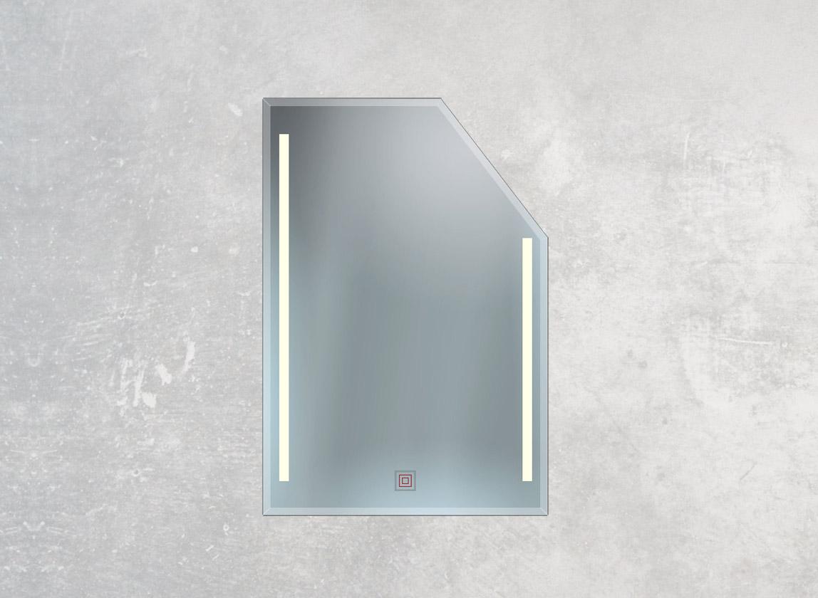Dachschrägenspiegel mit Facettenschliff, Sensor und 2 LED-Lampen