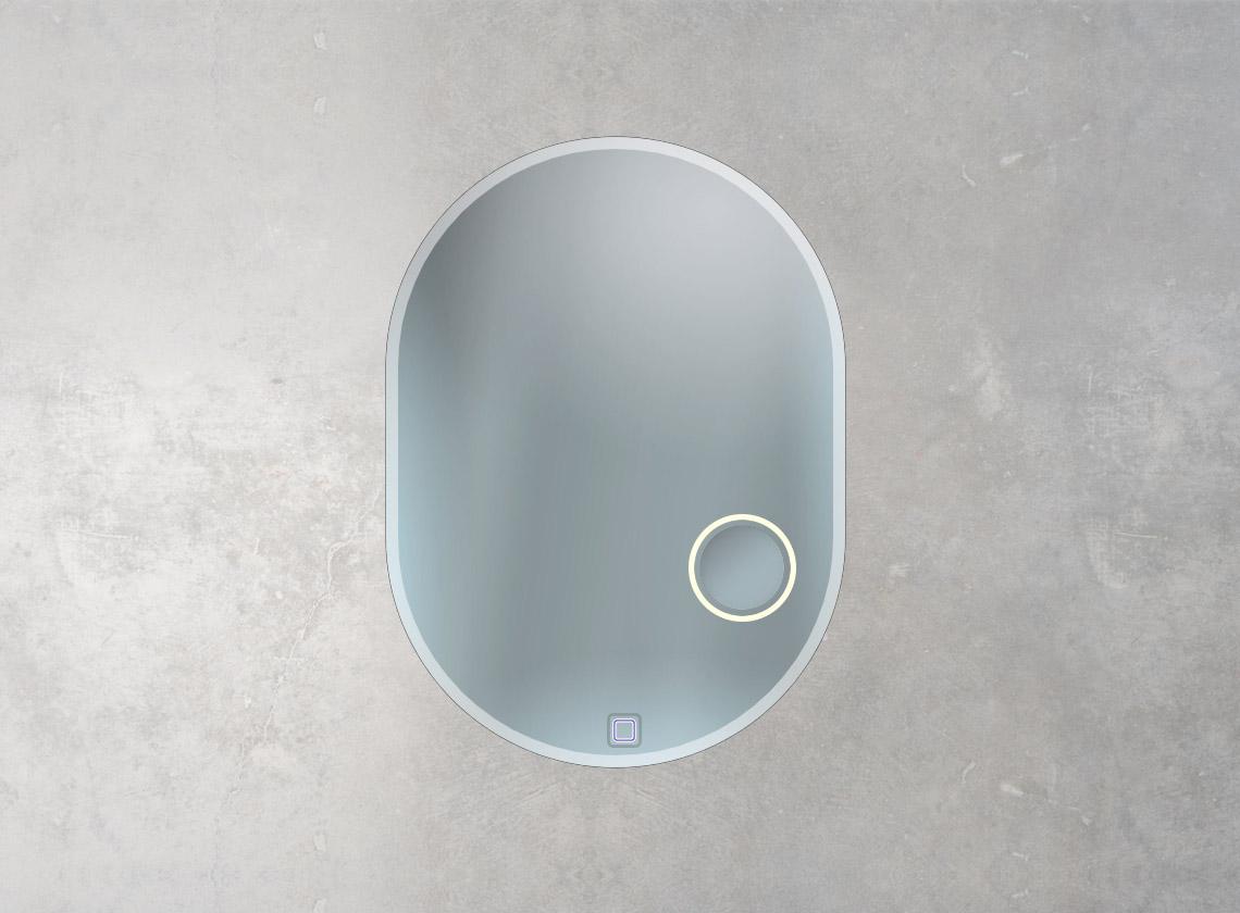 Sonderform Badspiegel mit integriertem Kosmetikspiegel, Sensorschalter und mattiertem Rand