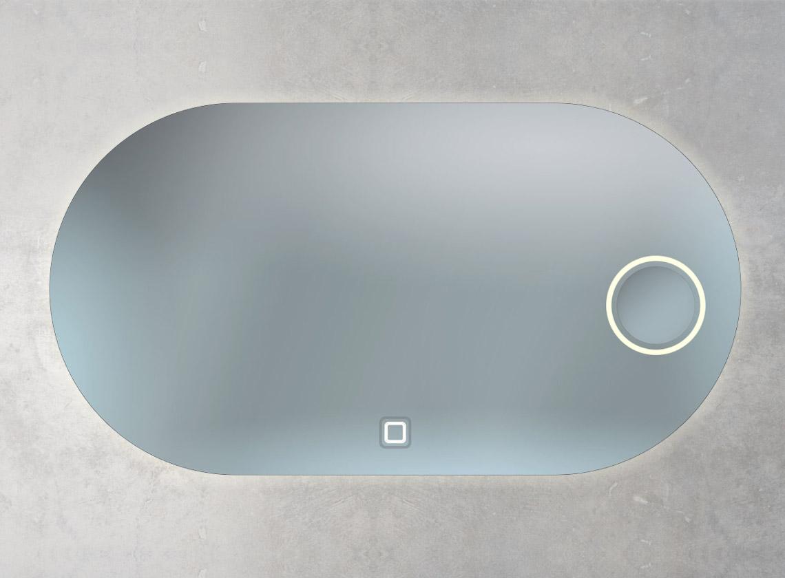 Sonderform Spiegel mit integriertem Kosmetik- spiegel, Ambientebeleuchtung und 1 Sensorschalter