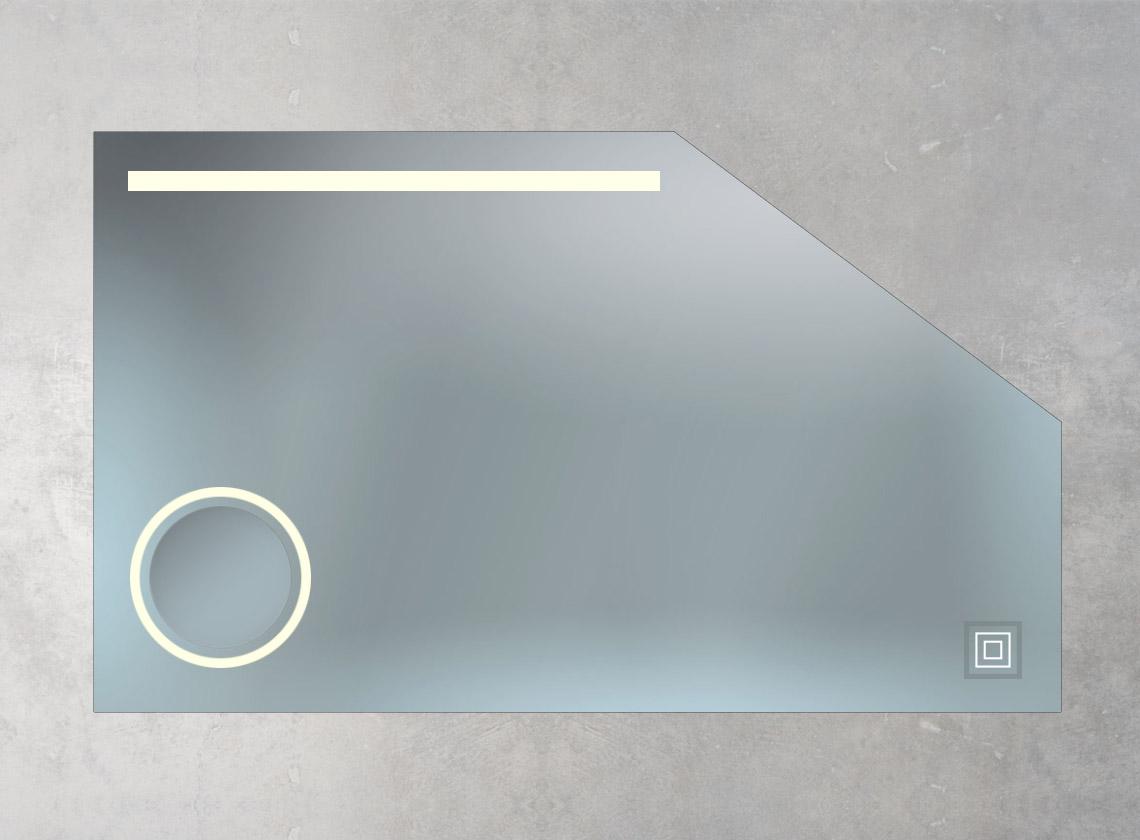Dachschrägenspiegel mit Kosmetikspiegel, LED-Lampe und Sensorschalter
