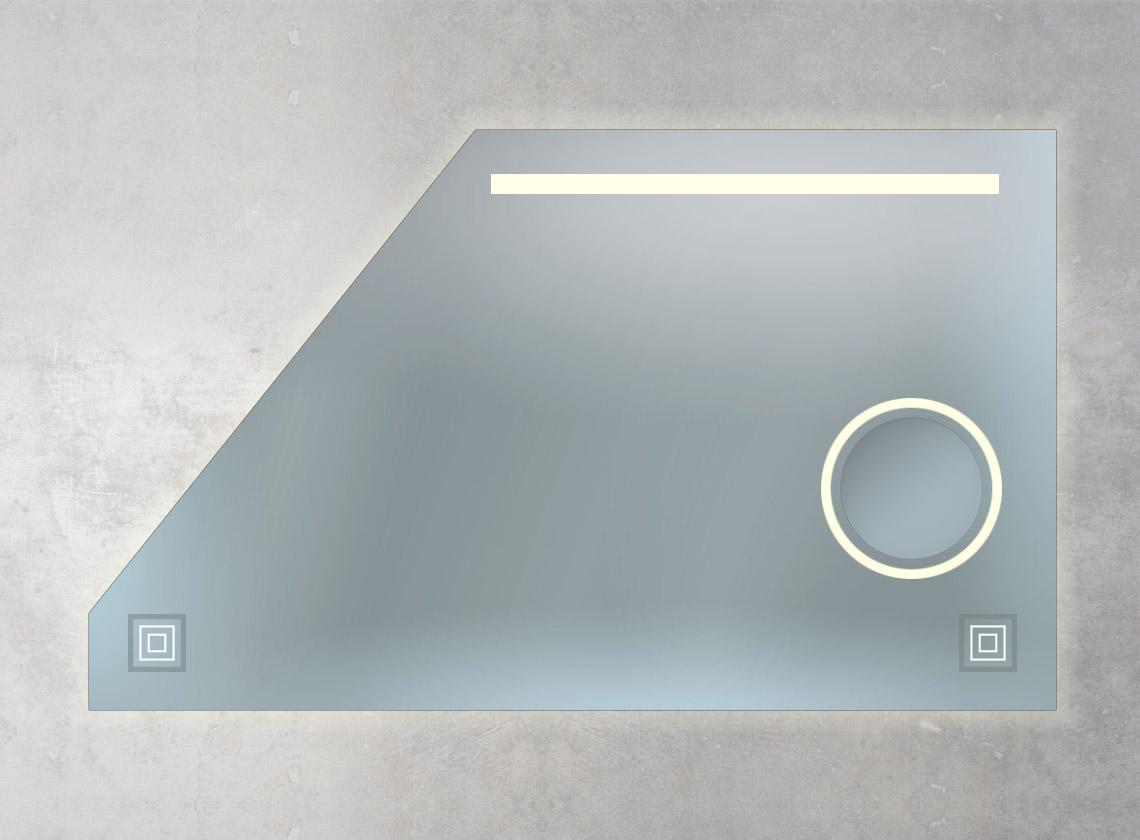 Dachschrägenspiegel mit integriertem Kosmetikspiegel, Ambiente- und LED-Beleuchtung und 2 Sensoren